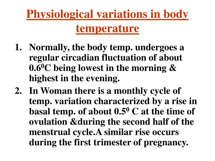 Physiological variations in body temperature