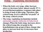 temp regulating mechanisms
