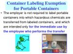 container labeling exemption for portable containers