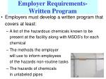 employer requirements written program10