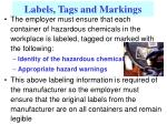 labels tags and markings