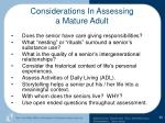 considerations in assessing a mature adult