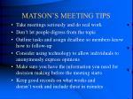 matson s meeting tips