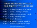 what are people looking for in effective meetings