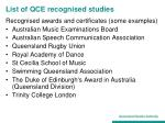 list of qce recognised studies