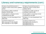 literacy and numeracy requirements cont