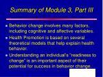summary of module 3 part iii