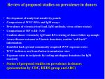 review of proposed studies on prevalence in donors