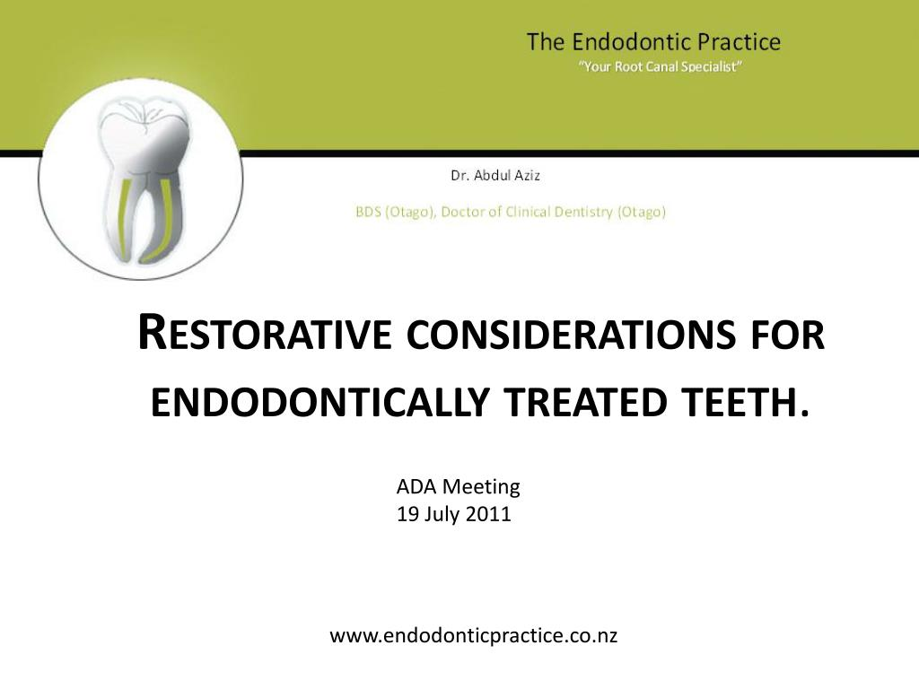 restorative considerations for endodontically treated teeth l.