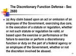 the discretionary function defense sec 2680