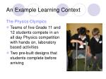 an example learning context