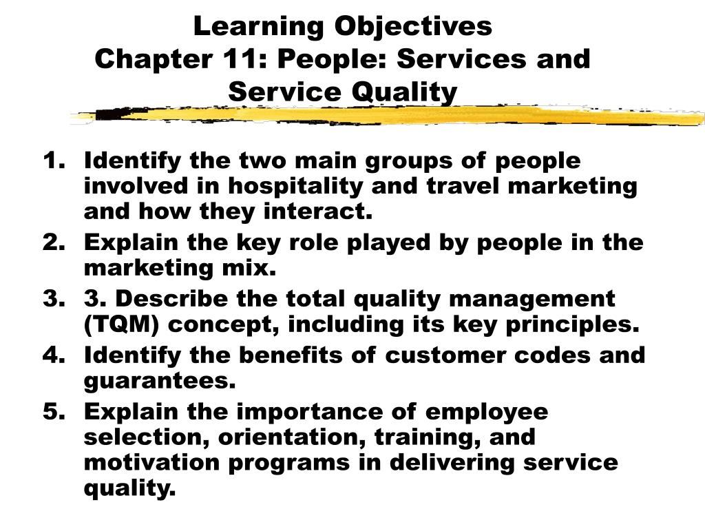 learning objectives chapter 11 people services and service quality l.