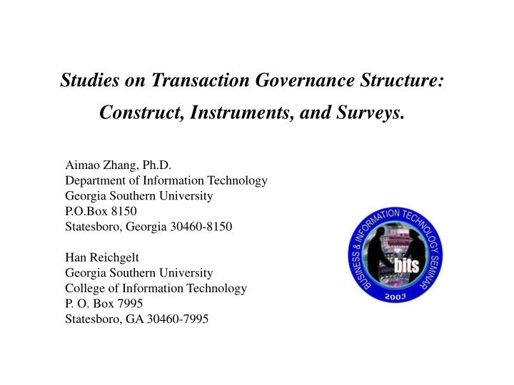 studies on transaction governance structure construct instruments and surveys n.