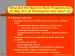 what did the ways to work programs do to help 27 of participants get jobs 2