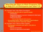 what did the ways to work programs do to help 27 of participants get jobs 3