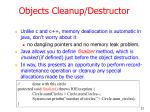 objects cleanup destructor