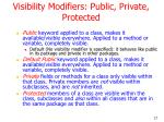 visibility modifiers public private protected