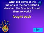 what did some of the indians in the borderlands do when the spanish forced them to work