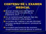 contenu de l examen medical