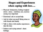 stages and experiences when coping with loss