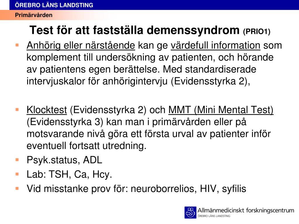 test f r att fastst lla demenssyndrom prio1 l.