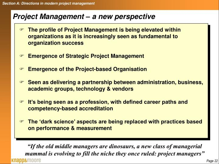 Section A: Directions in modern project management