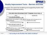 quality improvement tools barriers and aids25