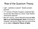rise of the quantum theory