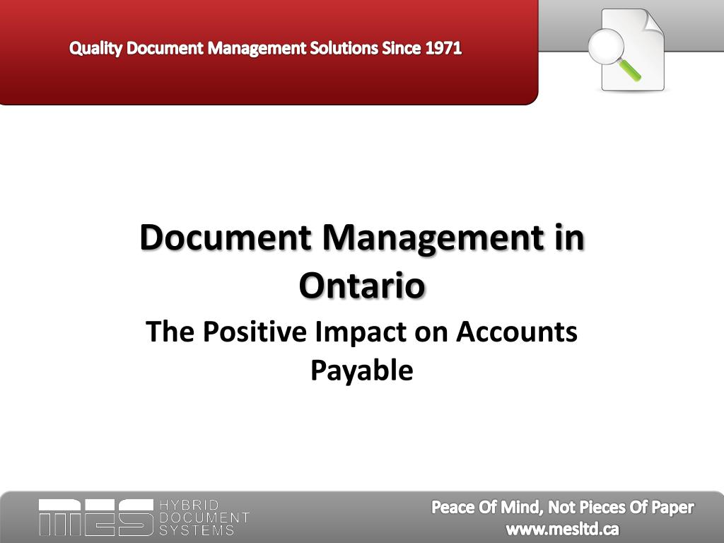 document management in ontario l.