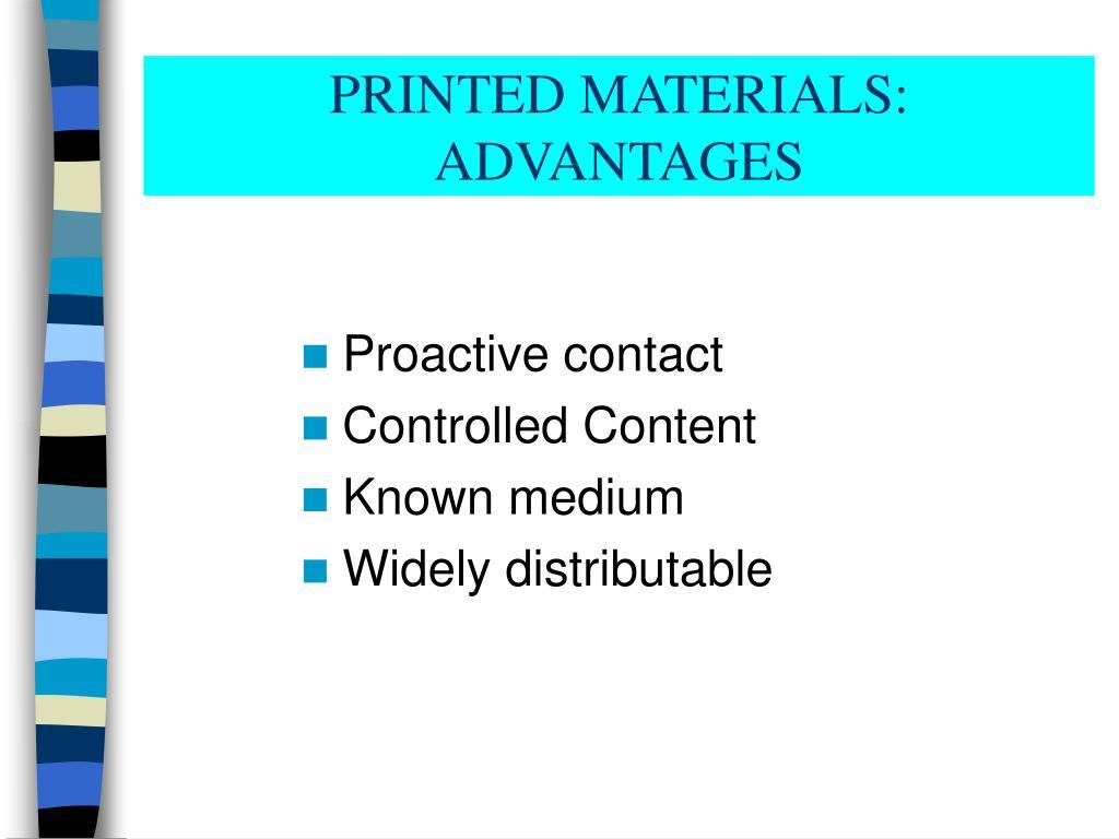 PRINTED MATERIALS: