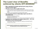 the lamri view of benefits achieved by clients off shoring