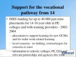 support for the vocational pathway from 1429