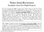 notes from reviewers examples from two flight projects