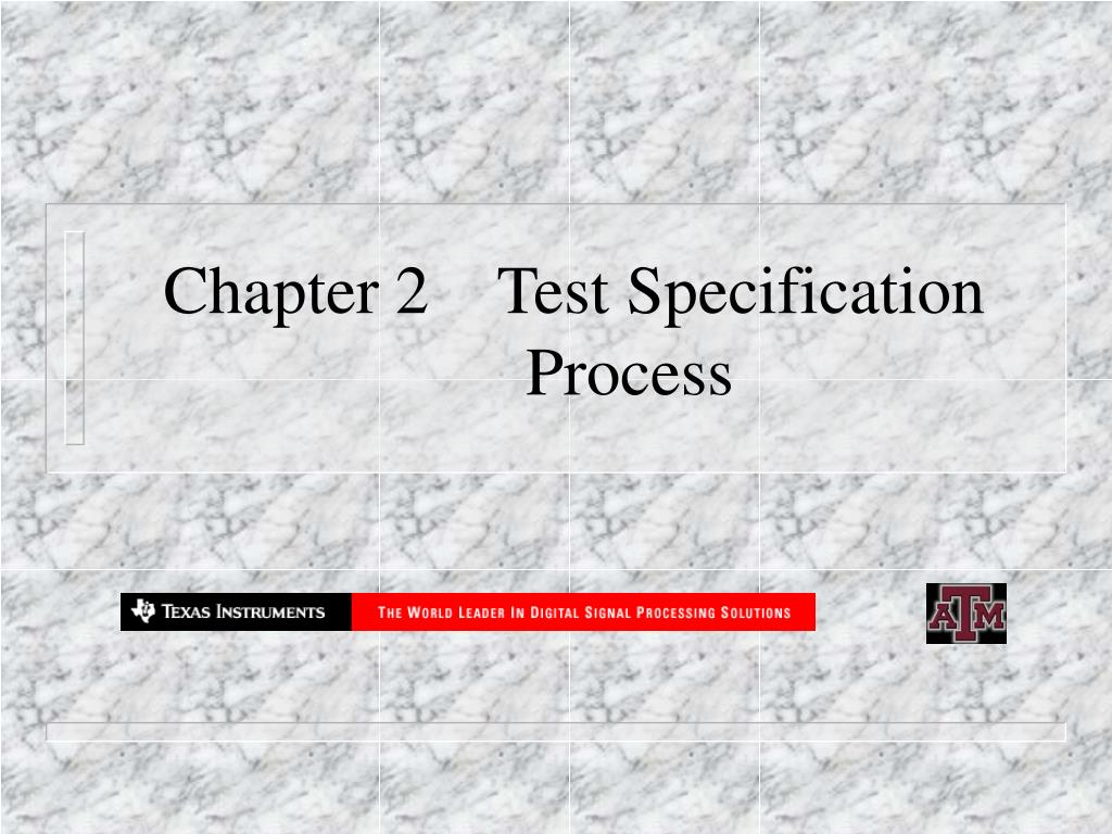 chapter 2 test specification process l.