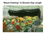 black clothing to shorten day length