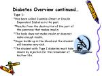 diabetes overview continued