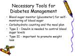 necessary tools for diabetes management