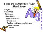 signs and symptoms of low blood sugar