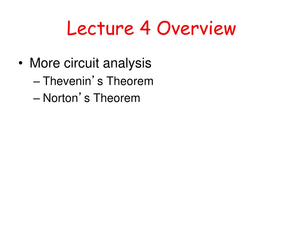 lecture 4 overview l.
