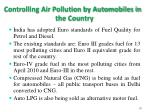 controlling air pollution by automobiles in the country