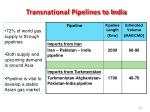 transnational pipelines to india
