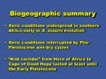 biogeographic summary