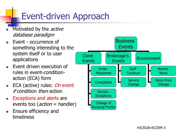Event driven approach