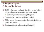 tokugawa japan policy of isolation