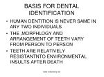 basis for dental identification