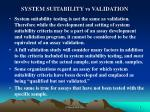 system suitability vs validation