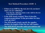 test method procedure sop i