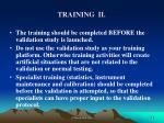 training ii