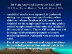 tri state analytical laboratory llc 2003 fda new orleans district nashville branch office