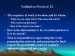 validation protocol ii